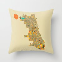 chicago Throw Pillows featuring Chicago by Nicksman