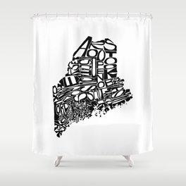 Typographic Maine Shower Curtain