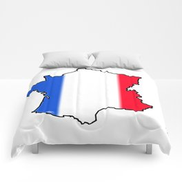 France Map with French Flag Comforters