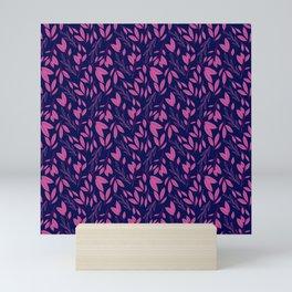 Navy and Pink Leaf Random Toss Pattern Mini Art Print
