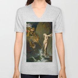Ruggiero Rescuing Angelica - Jean Auguste Dominique Ingres,  Unisex V-Neck