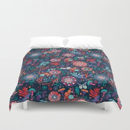 Ripe autumn – cyan and red Duvet Cover