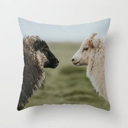 Sheeply in Love - Animal Photography from Iceland Throw Pillow