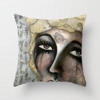 blondie Throw Pillows featuring Blondie by The Waking Artist