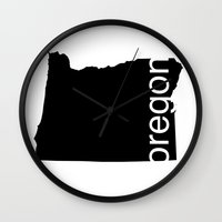 oregon Wall Clocks featuring Oregon by Isabel Moreno-Garcia