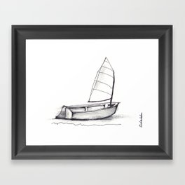 Sailboat, pen and ink Framed Art Print