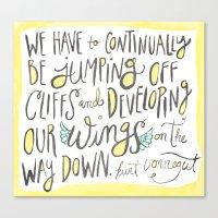 kurt vonnegut Canvas Prints featuring jumping off cliffs - kurt vonnegut quote by Shaina Anderson