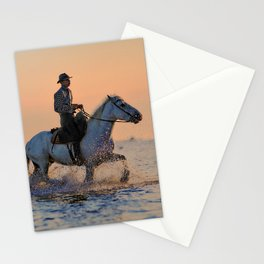 Riding a Horse Through the Ocean Stationery Cards
