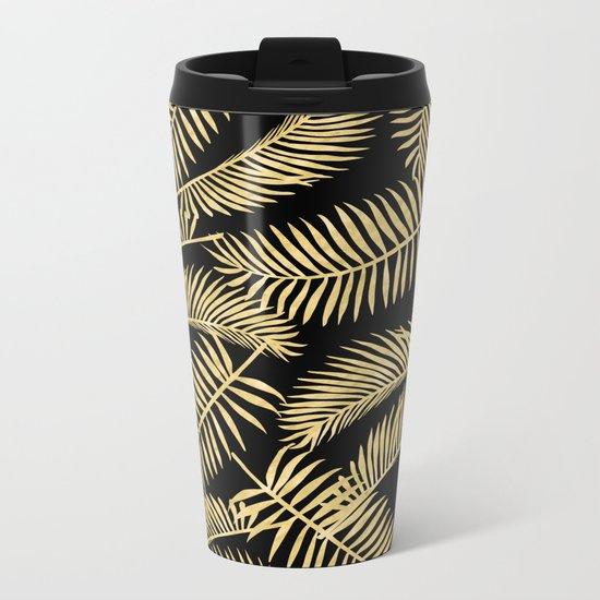Palm Leaf Pattern Gold And Black Metal Travel Mug