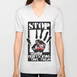 STOP HUMAN TRAFFICKING Unisex V-Neck
