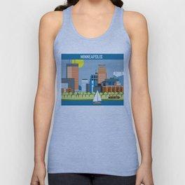 Minneapolis, Minnesota - Skyline Illustration by Loose Petals Unisex Tank Top
