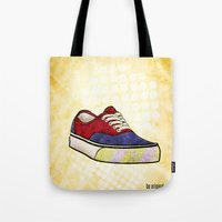 vans Tote Bags featuring Man I Need Vans - Classic Sneaker Icon by Dave Conrey