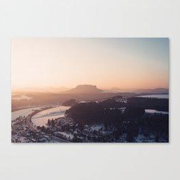 Sunrise in Saxon Switzerland Canvas Print