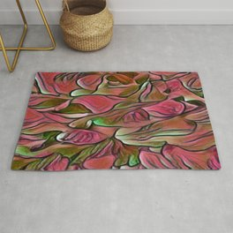 Flowing Soft Petal Abstract - Deep Rose Pink and Green Rug