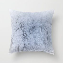 First Snow Fall Fresh Snow on Trees Nature Photography ~ Winter Hush Throw Pillow