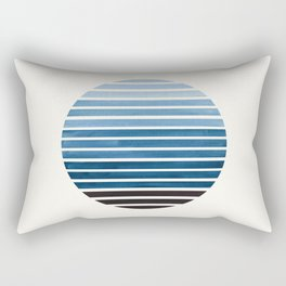 Green Blue Mid Century Modern Minimalist Scandinavian Colorful Stripes Geometric Pattern Round Circl Rectangular Pillow