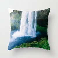 waterfall Throw Pillows featuring Waterfall by StayWild