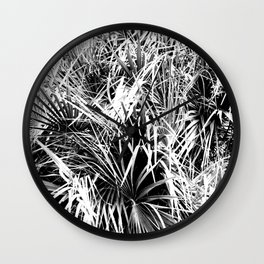 Palm Fronds In Black and White Abstract Photography Wall Clock