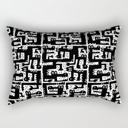 Alligator Alley Pattern Black/White Rectangular Pillow