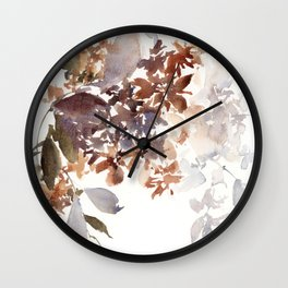 Autumn leaves watercolor art Wall Clock