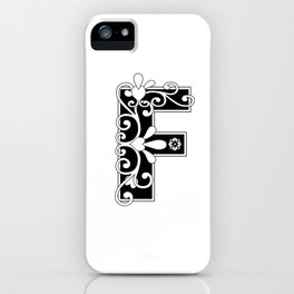 Letter F Elegant Scroll Initial iPhone Case