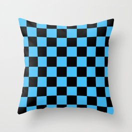Black and Blue Checkerboard Pattern Throw Pillow