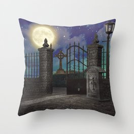 Graveyard #5 * cemetary scary spooky tombstone creepy Throw Pillow