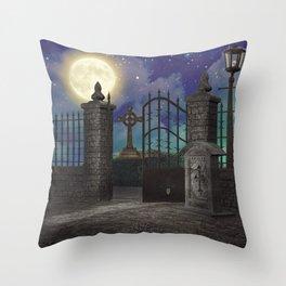 Graveyard #5 * cemetary scary spooky tombstone creepy Throw Pillow