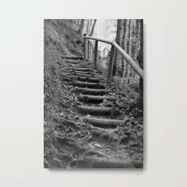 Wooden stairs, black and white photo Metal Print