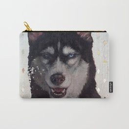 Siberia [ oil on mirror ] Husky dog portrait Carry-All Pouch