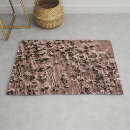 lamiaceae reddened earth tone botanical art washed out effect aesthetic photography Rug