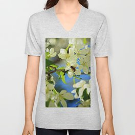 A bee and apple blossoms Unisex V-Neck