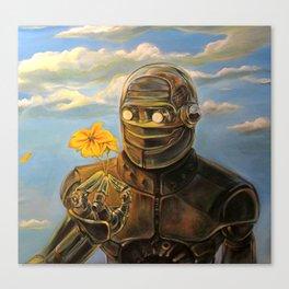 Robot & Flower Canvas Print