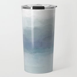 Blush Pink Mint Sky Baby Blue Abstract Ocean Sky Sunrise Wall Art Water Clouds Painting Print Travel Mug