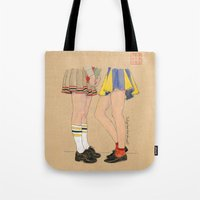 gossip girl Tote Bags featuring Gossip Girls by Bryan James