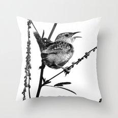Sedge Wren Throw Pillow