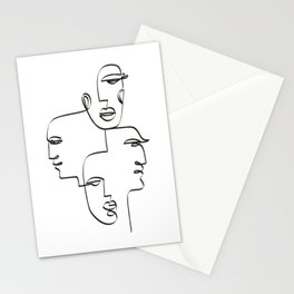 1 Line / 4 Faces Stationery Cards