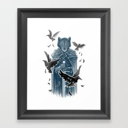 Wolf And Ravens Framed Art Print