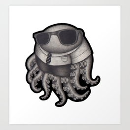 Octopus with sunglasses Art Print