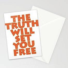 """Simple yet attractive tee design with text """"The Truth Will Set You Free"""". Makes a nice gift too!  Stationery Cards"""