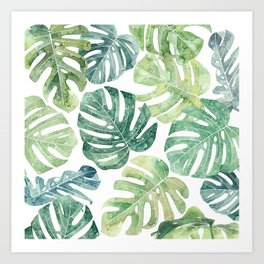 Tropical leaves Monstera leaves Jungle leaves Palm leaves Art Print