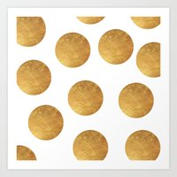 polkadot Art Prints featuring GOLD POLKADOT 2 by wlydesign