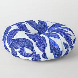 Banana leaves tropical leaves blue white #homedecor Floor Pillow