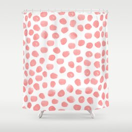 Natalia - abstract dot painting dots polka dot minimal modern gender neutral art decor Shower Curtain