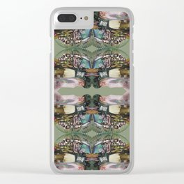 God Save The Queen - army green collage Clear iPhone Case