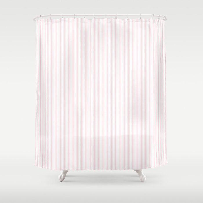 Light Soft Pastel Pink and White Mattress Ticking Shower Curtain by ...