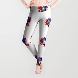 USA Red White And Blue Cartoon Exclamation Leggings