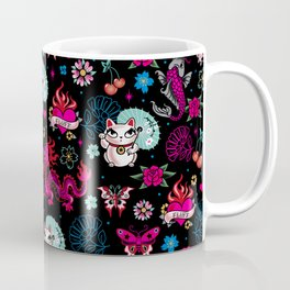 Lucky Cat Maneki Neko , Dragons and Koi fish Coffee Mug