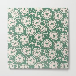 Flower Bouquets Green and Beige 223 Metal Print