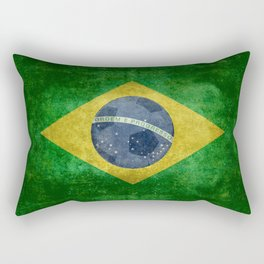 Flag of Brazil with football (soccer ball) retro style Rectangular Pillow